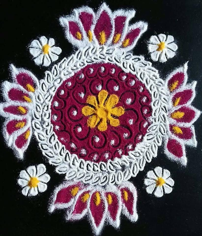 Simple And Beautiful Festival Rangoli Designs By Vaishali Deshmukh
