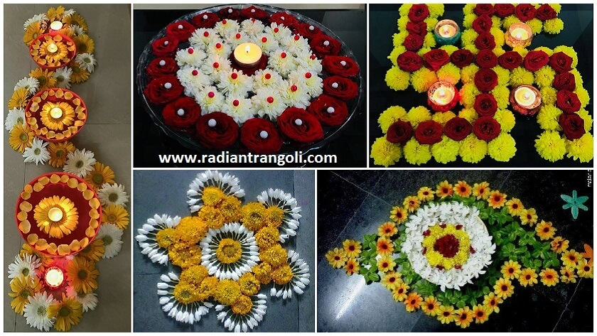 easy colourful rangoli designs with flowers   radiant rangoli